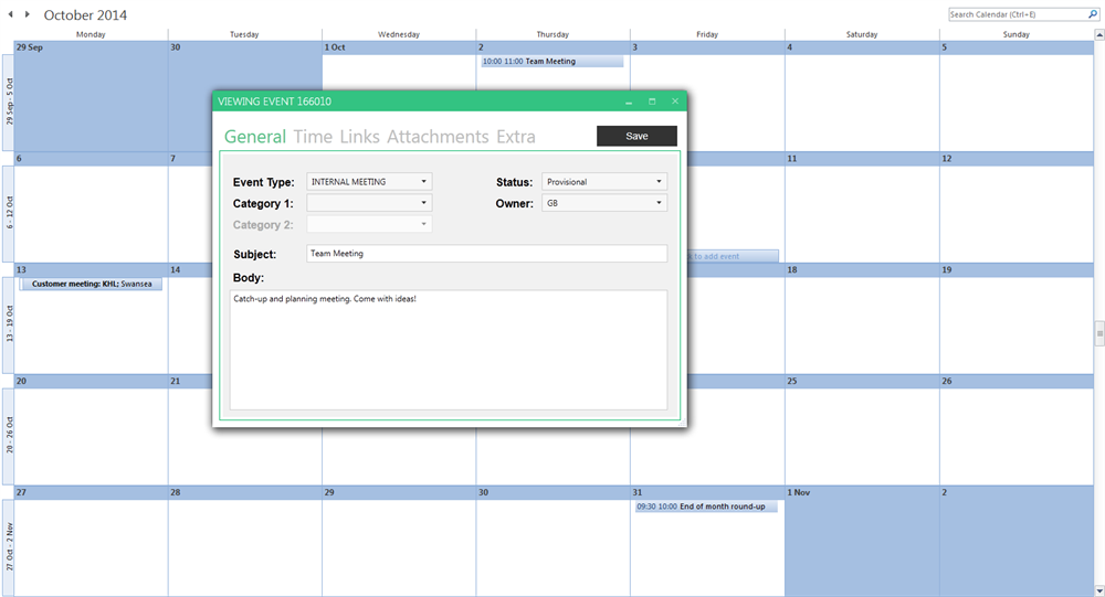 Outlook add-in screenshot showing add calendar event window