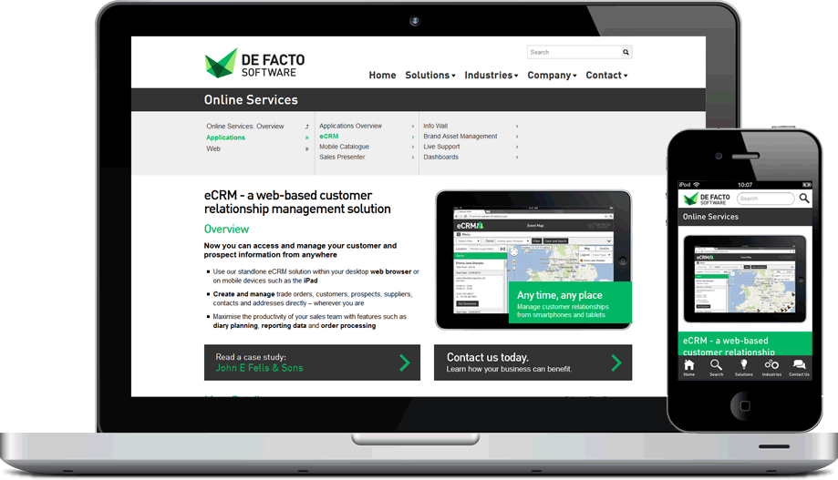 Screenshot of a responsive page on the De Facto website